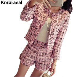 short en tweed pour femme Promotion Coréen Dames Automne Hiver Tweed 2 Piece Set Femmes Vintage Plaid Slim Veste Court Manteau Top + Gland Shorts Deux Pièces Ensemble Costumes