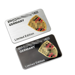 Wholesale Porsche Stickers - For Porsche 911 Boxster Cayman Panamera Cayenne Macan Limited Edtion Germany Metal thin Aluminum Fender Tail Trunk Emblem Sticker