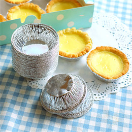 Wholesale Rice Cake Moulds - 250pcs lot Disposable Egg Tarts Mold Round Aluminum Foil Pie Mould for Steamed Cupcake Rice Cakes Tartlets Small Baking Tools