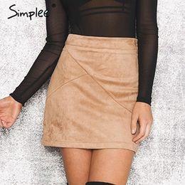 Wholesale Womens Suede Skirts - Wholesale-Simplee Autumn vintage leather suede pencil skirt winter 2016 Cross high waist skirt Zipper split bodycon short skirts womens