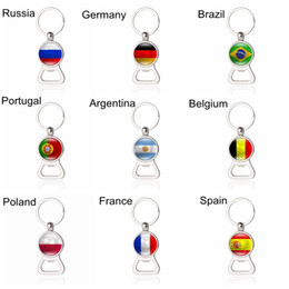 Wholesale football glasses - Bottle Opener Key Chains Football Keyrings with Country Flags Beer EDC Souvenir Spain Portugal Russia Germany Soccer Fans Gift Wholesale