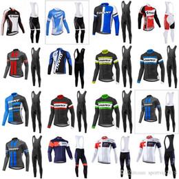 pantalones largos jersey mtb Rebajas 2018 Primavera / Otoño Pro Team GIANT IAM Ciclismo de manga larga Jersey Ropa deportiva de bicicleta MTB Bike Bib Pantalones largos establecidos 4112