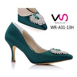 df8ff7fe94f3 2018 8cm Heel Height Emerald Color Women party shoes bridal shoes bridemaid  shoes for wholesale size 36-42 with nice decoration for wedding