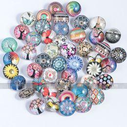 boutons en cuir peu coûteux Promotion Snap Button pour collier Bracelet pas cher bijoux 18 MM verre Ginger bouton pour breloques en cuir bracelets bricolage accessoires en gros