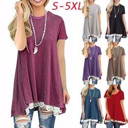 Wholesale Hem Blouse - Womens Fashion Plus Size Casual Short Sleeve Lace Hem Scoop Neck A Line Cotton Tunic Blouse S-5XL