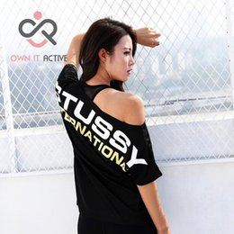 Wholesale loose yoga tops - Loose Off-Shoulder Letter Printed Women Short Sleeve Sports Gym Fitness Running Quick Dry Yoga T Shirt Sport Wear Tops P282