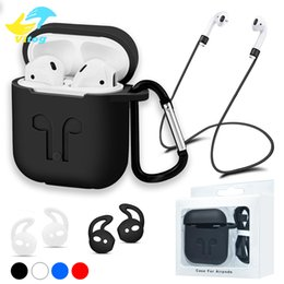Wholesale Hooks For Straps - For Apple Airpods Charging Case Soft TPU Case with Anti-lost Strap and 2 Pairs of Ear Hooks Keychain