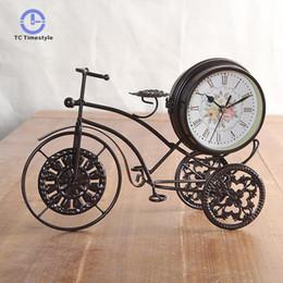 Садовые часы онлайн-Iron Art Bicycle Clock Quartz Clocks Garden Double-sided Silent Living Room Watches Home Decor Design Modern