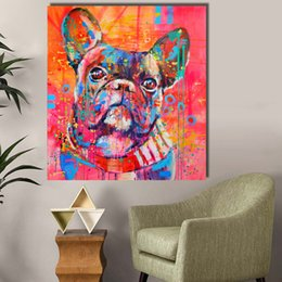 oil painting cartoon dog Australia - Oil Painting Canvas Art Classical Dog Animal Wall Pictures for Living Room Bedroom Posters and Prints Unframed Wall Art No Frame