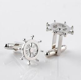 Wholesale Retro Cufflinks - Delicate Silver Wheel Cufflinks High Quality Luxury Men Cuff Button Retro Style Personality Shirt Cuff Links