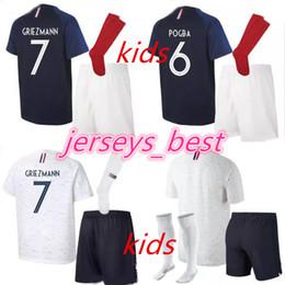 Wholesale cups for children - 2018 World Cup Children's Soccer Jersey Set POGBA GRIEZMANN DEMBELE VARANE PAYET KANTE MATUIDI 18 19 Football Suit for Children