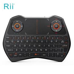 pavé tactile pour ordinateur portable Promotion Rii i28C 2.4G Mini clavier sans fil pour ordinateur portable / Smart TV avec clavier tactile rétro-éclairage design ergonomique Multitouchpad Qwerty Keyboard