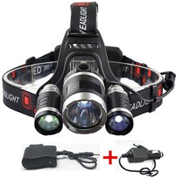 Wholesale Cree Xml T6 Led Bicycle - 6000LM Outdoor Waterproof LED Headlamp Rechargeable 3X CREE XML T6 LED Headlight Camping Fishing Bicycling Head Lamp with Chargers
