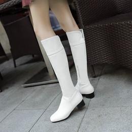 2019 talloni bianchi aperti alti talloni spessi Stivali alti al ginocchio  da donna con tacco alto c99901407ef