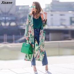 kimono vintage floral Promotion Kimono imprimé floral long manteau veste vintage rétro cardigan à manches longues châle lâche dessus manteaux avec ceinture, plus la taille xnxee