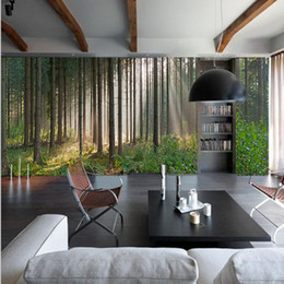 Wholesale 3d Scenery Photo - Photo wallpaper Forest pastoral natural scenery living room bedroom large wall painting KTV bar 3D landscape mural wallpaper
