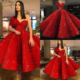 Wholesale Tea Length White Formal Dresses - Red One Shoulder Sequined Prom Dresses Ruched Tea Length Evening Gowns Zipper Back Cocktail Formal Party Dress Cheap Vestidos