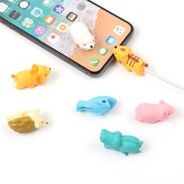 acessórios baratos para telefones celulares Desconto Protetor de cabo do carregador de mordida de cabo saborear capa para iphone relâmpago design animal bonito cabo de carregamento protetora