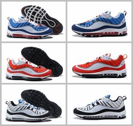 Wholesale Flat Shoes Branded - Air 98 OG Gundam Red Blue Silver Bullet Men Sneakers 2018 White Running Shoes Fashion Retro Brand Sports Sneakers 7-12