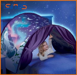 Wholesale Type Mosquito Gauze - 9 Styles 80*230cm Kids Dream Tents Folding Type Unicorn Moon White Clouds Cosmic Space Baby Mosquito Net Without Night Light CCA8208 10pcs