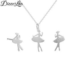 b830dedf0b Elegante argento sterling 925 Dancing Girl Collane ciondolo Balletto  Ragazze Orecchini Set di gioielli per le donne sterling-argento-gioielli