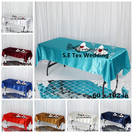 "Wholesale Nice Events - Nice Looking 60""*102"" Rectangular Satin Table Cloth For Wedding Event Party Decoration Free Shipping"