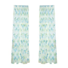 Wholesale gauze curtain fabric - Lily Flower Sheer Curtains Window Screen Window Gauze Door Scarf Drapes Valance For Room Decor (Blue)