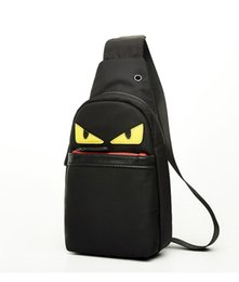 Wholesale Black Journey - Little Monster PU Plain Backpack Simple Chest Bag travel single Cartoon shoulder PU trip journey waist bags pack Unisex useful bagpa KKA1286