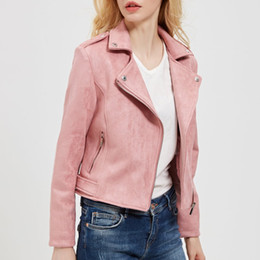Wholesale Purple Leather Motorcycle Jacket - 2018 New Autumn Winter Women Motorcycle Faux PU Leather Red Pink Brown Gray Jackets Lady Biker Outerwear Coat Hot Sale 4 Color