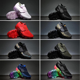 Wholesale Knitted Baby Boy Shoes - Baby children boy girl vapormax Kids Shoes Black multi Rainbow White trainers sneakers knitting Air cushion Running Shoes size 28-35