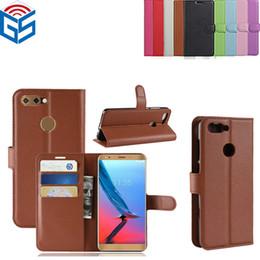 El mejor precio Lichi Grain Wallet Leather Flip Volver caso de la cubierta para ZTE Blade V9 V8 con el titular de la tarjeta envío gratis desde fabricantes