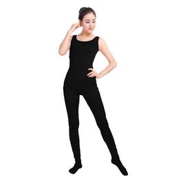 Discount spandex jumpsuit men - Ensnovo Women Unitard Lycra Spandex Dance Costumes Gymnastics Yoga Suit Sleeveless Footed Jumpsuits Black Unitard Bodysuit