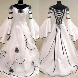 Wholesale Custom Renaissance Dresses - 2018 Renaissance Vintage Black and White Medieval Wedding Dresses Vestido De Novia Celtic Bridal Gowns with Fit and Flare Sleeves Flowers