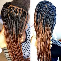 2020 peluca africana de dos tonos Pelucas delanteras de encaje trenzado mediano de color marrón ombre de stock Pelucas trenzadas sintéticas de dos tonos para mujeres afroamericanas peluca africana de dos tonos baratos