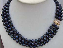 2019 chiusura in oro nero perla 3 ROW SOUTH SEA AAA7- 8MM BLACK PEARL NECKLACE 18 POLLICE 14K GIALLO CHIUSURA sconti chiusura in oro nero perla