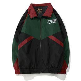 Wholesale vintage black coats - Vintage Color Block Patchwork Embroidery Full Zip Up Windbreaker Jackets 2018 Spring Autumn Hip Hop Casual Track Coats