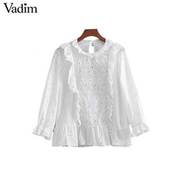 81e3ec6c7b2f Vadim women sweet ruffled blouses embroidery hollow out eyelet pleated shirts  ladies white summer cute chic tops blusas LA151 ruffle blouse tops on sale