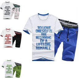 Wholesale suits teenager - Short Sleeve Letter Printed T-shirt+pants Tracksuit Men 2018 Summer Two-piece Set Youth and Teenager Tops Short Pants Casual Sport Suits Fa