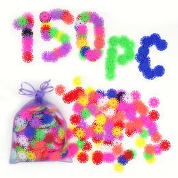 Com Instruções 150 Pcs 3D Puzzle Plástico Floco De Neve Blocos de Construção de Brinquedos Educativos para Crianças Embelezado Maravilhosamente de