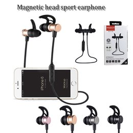 Wholesale Headphones Bluetooth Bass - SLS100 stereo wireless bluetooth 4.1 sports earphone magnetic head inear supper bass music headset neckband headphone four colors with pack