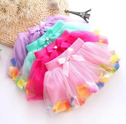 Wholesale girls petti dresses - Girls TUTU petti skirt summer lace & bow&petal decoration skirt kids dress Straight short skirts