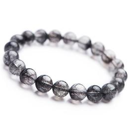 Кварцевые капли онлайн-2018 Natural Black Rutilated Quartz Round Crystal Bead Bracelet Drop Shipping Fashion Stretch Bracelets Women Men Powerful 10mm