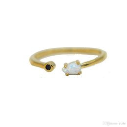 Wholesale Yellow Gold Opal Ring - US size 6-8 yellow gold plated black 2mm cz thin band tiny cute tear drop opal stone women bridal wedding gold ring