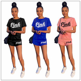 Wholesale black art tee shirts - 3 Colors PINK Letter Women Clothing Shorts Tracksuit T-Shirt Top Tees + Drawstring Shorts Pants Two Pieces Set Summer Outfit CCA9899 12set