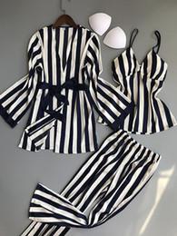 Canada Ensemble pyjama rayé pour femme 3pcs vêtements de nuit manches longues Loungewear supplier elastic top pants Offre