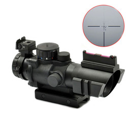 Retículo sniper escopo do rifle on-line-Tático Sniper 4X32 Âmbito Iluminado Red Green Blue Reticle Fibra Óptica Caça Rifle Scope Preto