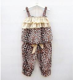 Chaleco leopardo online-Los niños del verano del leopardo rayadas volantes Liguero Tops + Pants 2 piezas trajes niños ropa chaleco del arco en capas pantalones cortos establece ropa fina
