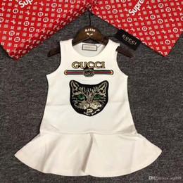 vestidos geométricos del boutique Rebajas 2018 Nuevas Chicas de Verano de Manga Corta Sweet Princess Dress Animal Printing High Quality Child Cute Clothing