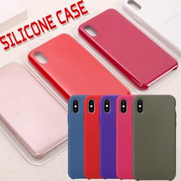 Wholesale Cloth Cases - Liquid Silicone Gel Rubber Shockproof Case with Soft Microfiber Cloth Lining Cushion Cover For Apple iPhone X 8 Plus 7 6 6S With Retail Box
