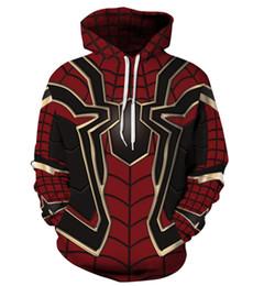 cappuccio supereroe Sconti Felpa con cappuccio Pullover Felpa 3d Avengers Infinity War Iron Spider Halloween Maglione Spiderman Supereroe uomo Donna Unisex Cosplay
